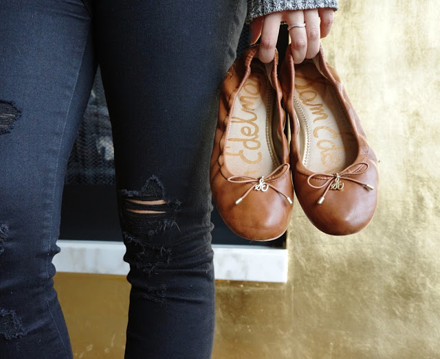 sam edelman felicia flats outfit review ootd saddle leather