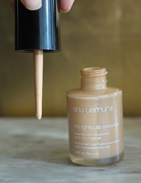 shu uemura lightbulb essence foundation review dropper