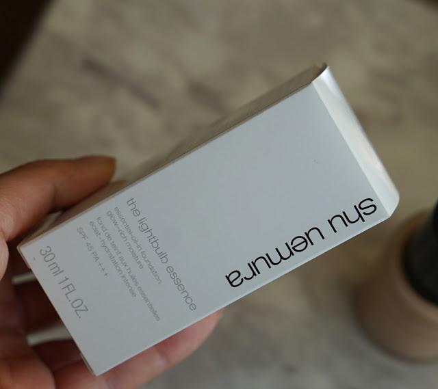 shu uemura lightbulb essence foundation review packaging